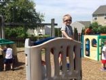 Enclosed playground at Little Jewels Christian Preschool